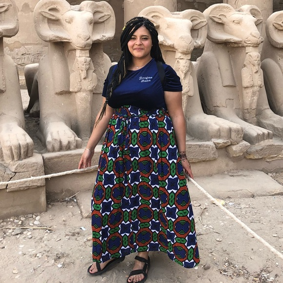 African Print Plus Size Maxi Skirt